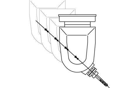 Eixo virtual posicionado segundo a direção da ferramenta